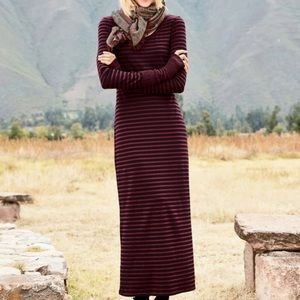 Peruvian Connection L Andover striped maxi dress